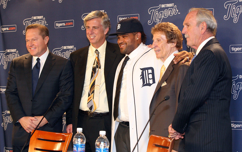 . DETROIT, MI - JANUARY 26:  (L-R) Agent Scott Boras, CEO and general manager Dave Dombrowski of the Detroit Tigers, Prince Fielder, owner Mike Ilitch and manager Jim Leyland pose during a press conference amnnouncing the signing of Fielder at Comerica Park on January 26, 2012 in Detroit, Michigan.  (Photo by Jorge Lemus/Getty Images)