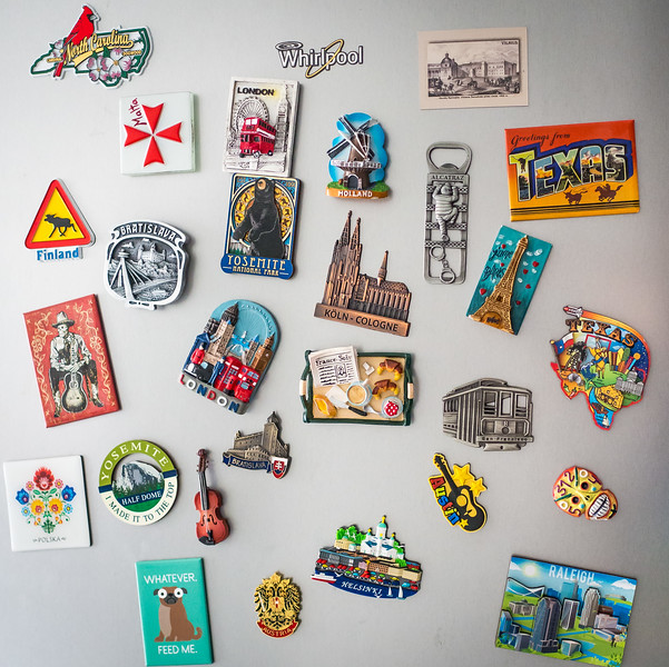 Year's worth of travel in fridge magnets