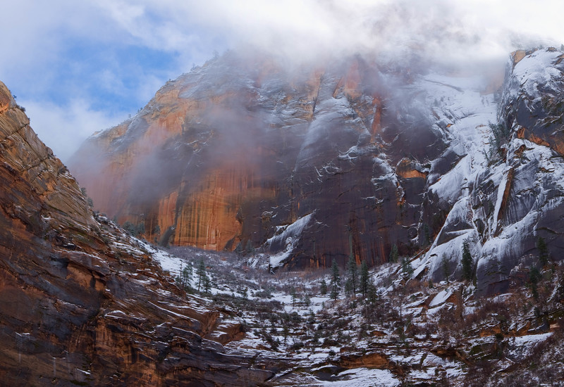 Snow on Echo Canyon, Zion National Park