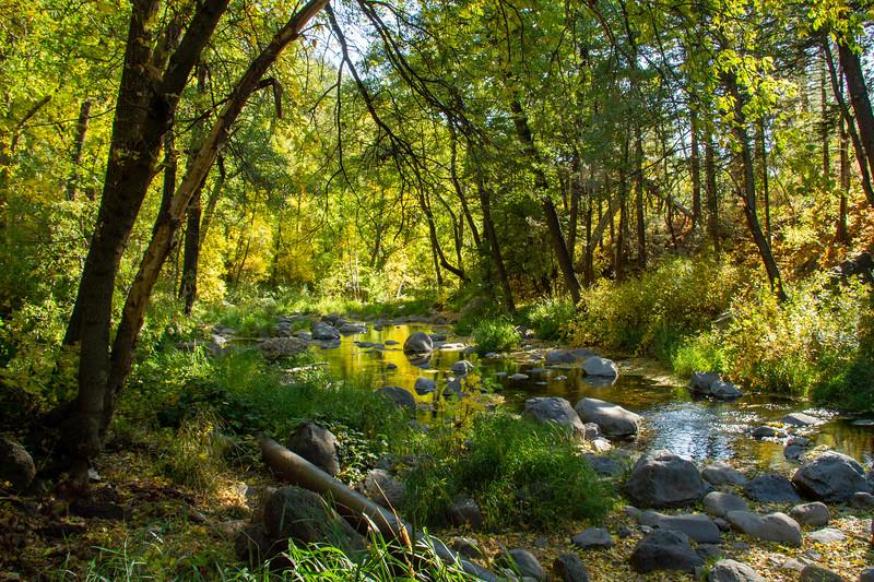 Early fall colors over Oak Creek outside Sedona, Arizona