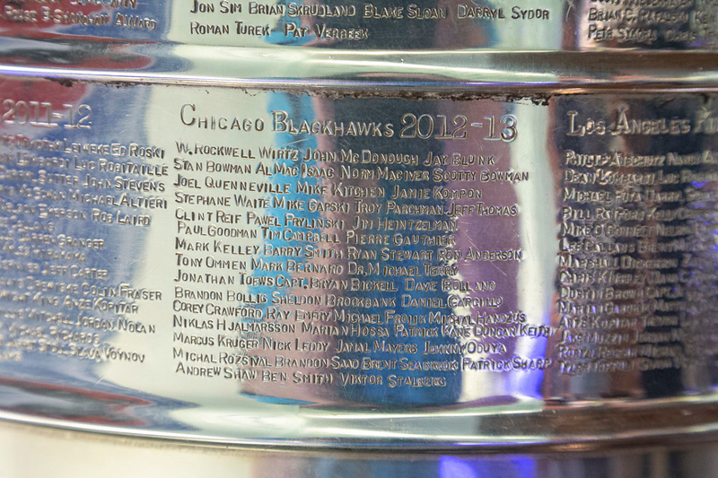 2012-13 Blackhawks plate on the Stanley Cup.