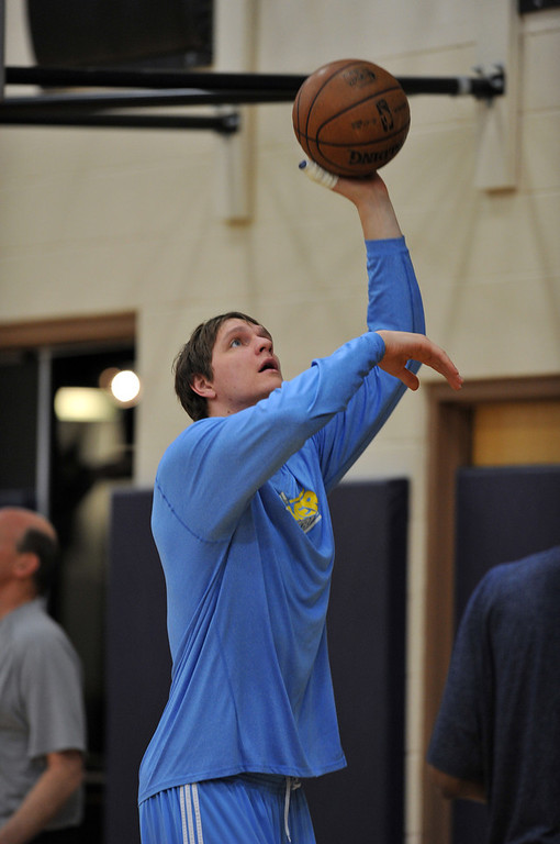 . Timofey Mozgov of Denver Nuggets is in the team practice for the 1st round of playoff game against Golden State Warriors at Pepsi Center. Denver. Denver, Colorado. April 19, 2013. (Photo By Hyoung Chang/The Denver Post)