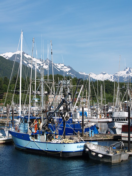 Clear, blue skies and warm temps are unusual, even in summer. Crescent Harbor boats in Stika (2009).