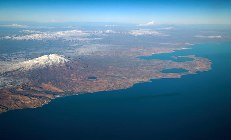 Mt. Suphan, on the edge of Turkey's Lake Van.  Mt. Ararat in background.