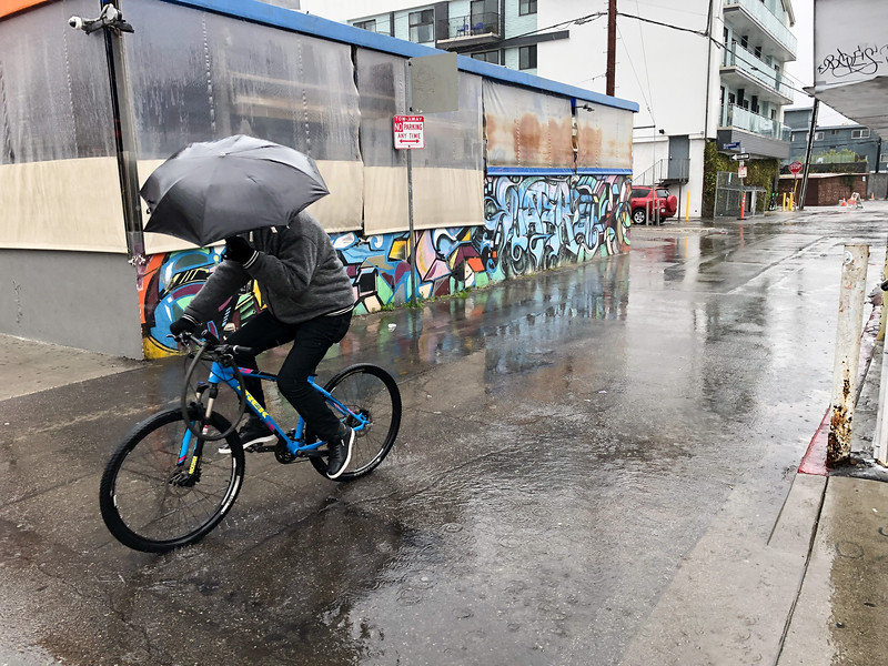 Riding along in the rain