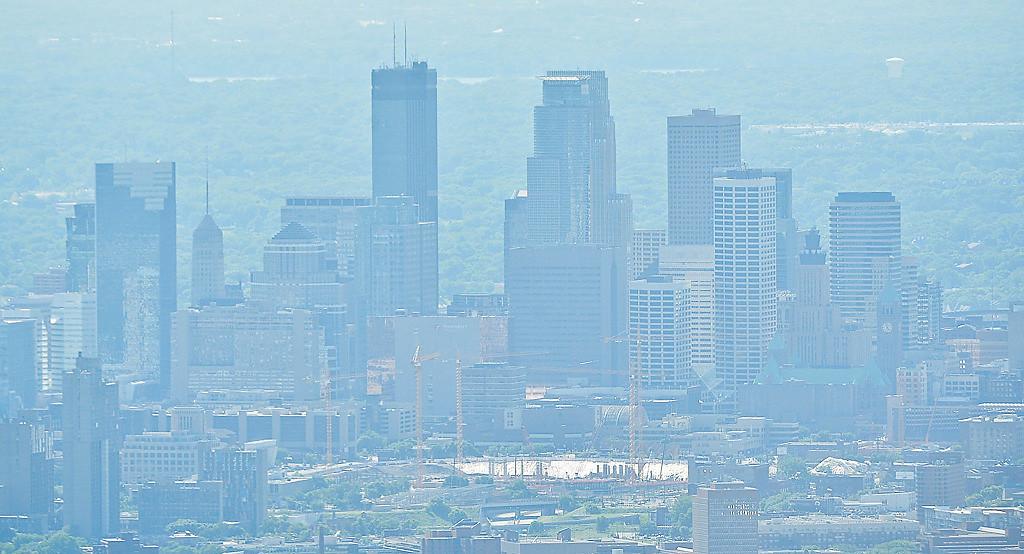 . Hazy downtown Minneapolis. (Pioneer Press: Ben Garvin)
