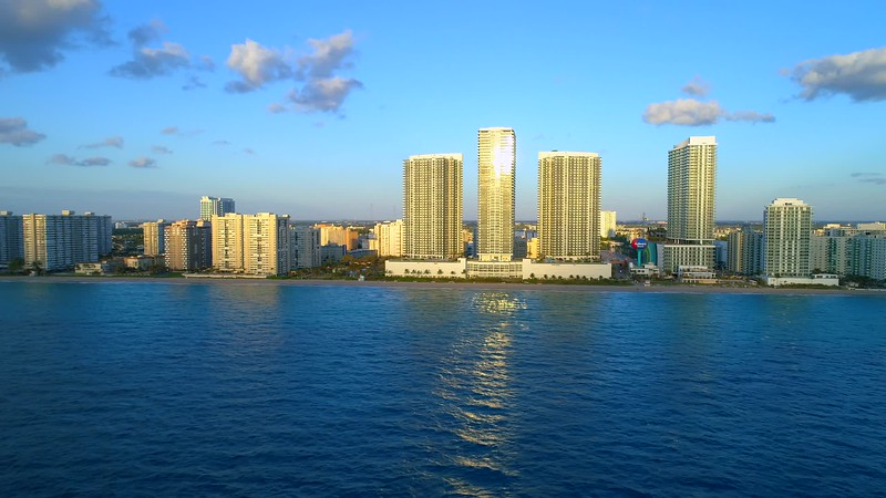 Aerial establishing footage Hallandale Beach Florida 4k 24p