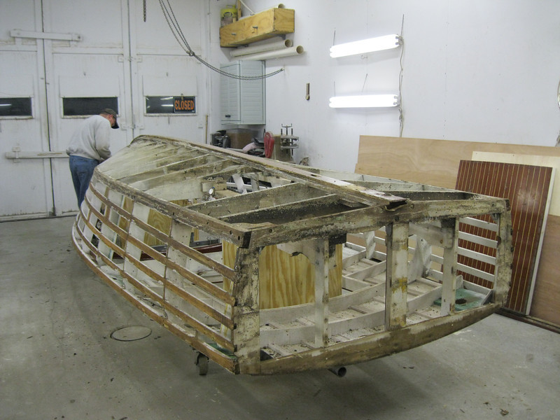 Rear starboard view of side and transom planks removed.