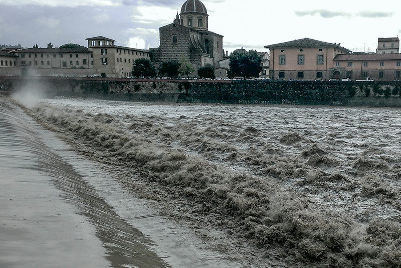 Many roads and train tracks washed out, Arno River following day