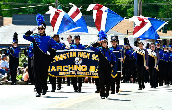 5/25/2019 Mike Orazzi | Staff The Newington High School Marching Band during the town's annual Memorial Day parade on Saturday.