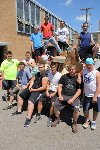 Football Team Helping Load Donations, Tamaqua Giveaway, Marian High School, Hometown (7-29-2013)