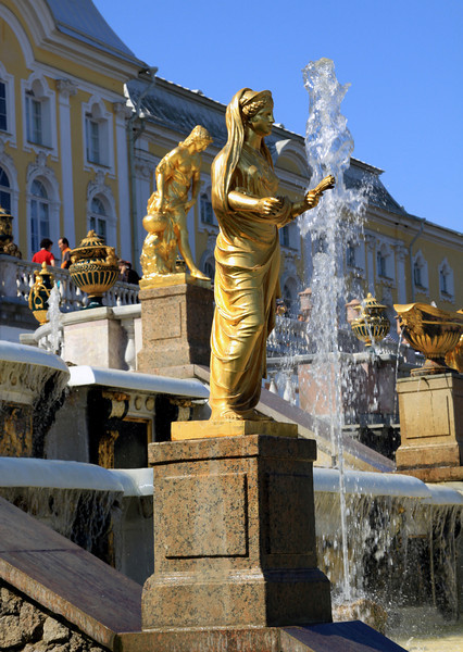 Petrodvorets (or Peterhof) Palace - Close-up of some of the gilded statues beside the Grand Cascade.