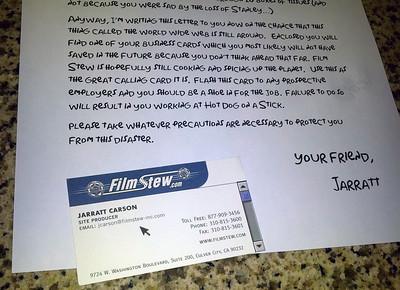 2014 April 23 Film Stew Practical Joke Letter to Jarratt