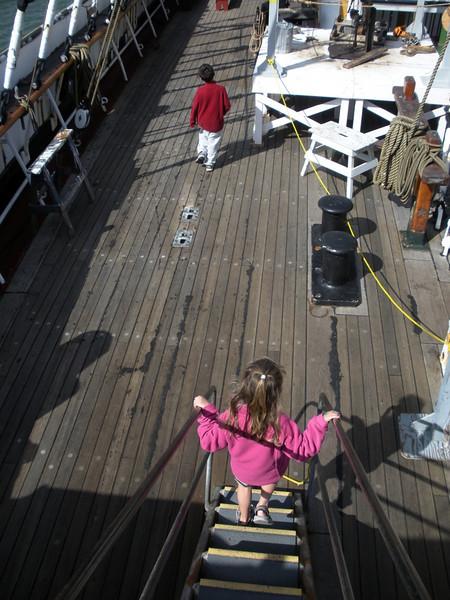 On board the Balclutha Hyde Street Pier at Fisherman's wharf, San Francisco, CA