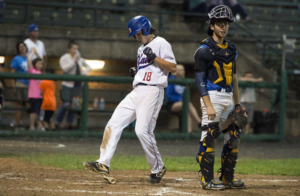 The Bristol Blues defeated the North Shore Navigators 7-0 on June 19, 2019 at Muzzy Field. Zeke Diamond (18) comes across to score. | Wesley Bunnell | Staff
