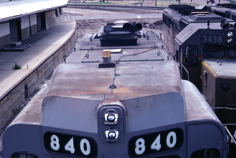 Top view of UP GP30 840. Salt Lake City, July 1983. The unit was in storage at the time, along with hundreds of other units on UP. (Don Strack Photo)