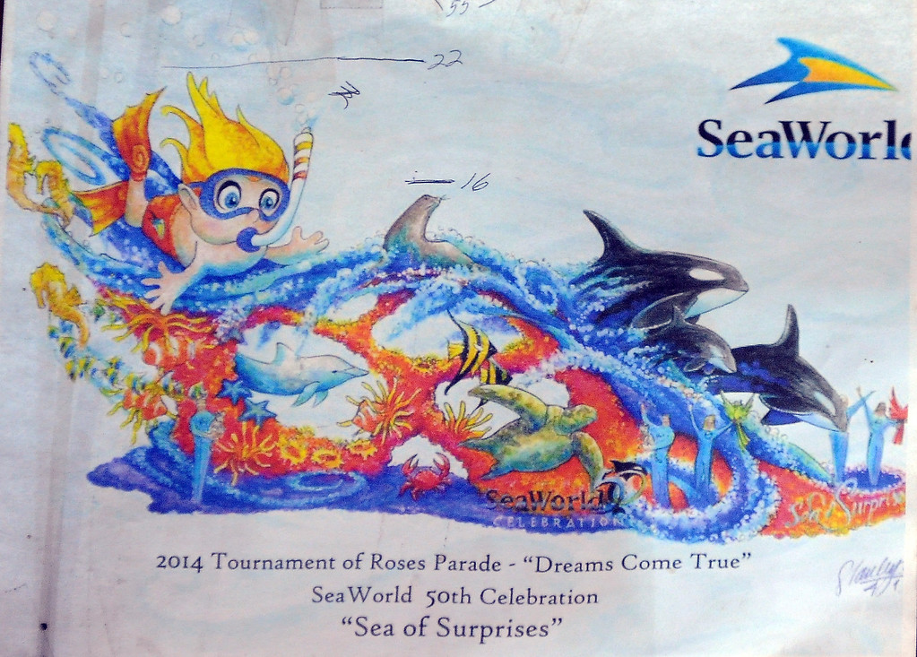 ". Sea Worlds entry titled ""Dreams Come True\"" for the upcoming 2014 Rose Parade at Fiesta Parade Floats in Irwindale, Calif. on Saturday, Sept. 7, 2013. 