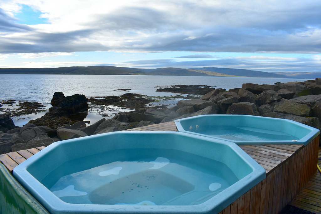 Jacuzzi hot pots at Drangsnes in West Fjords, Iceland