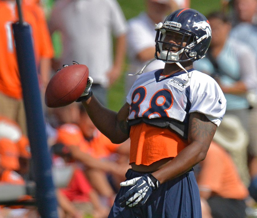 . Denver Broncos Demaryius Thomas (88) looks on during opening day of training camp July 25, 2013 at Dove Valley. (Photo By John Leyba/The Denver Post)