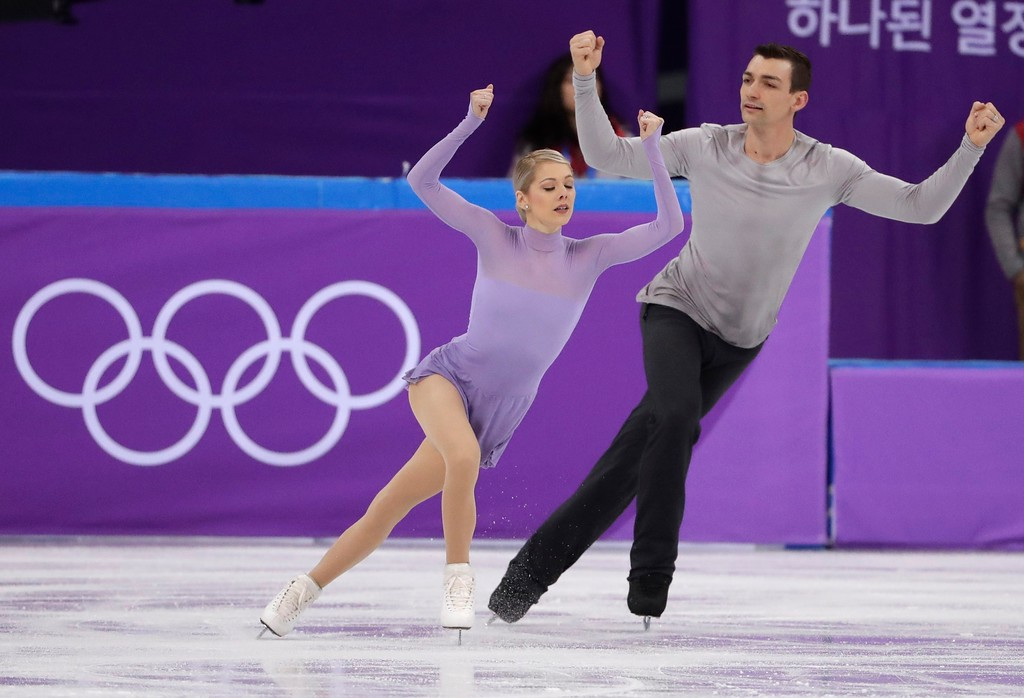 . Alexa Scimeca Knierim and Chris Knierim of the United States perform in the team event pair skating in the Gangneung Ice Arena at the 2018 Winter Olympics in Gangneung, South Korea, Sunday, Feb. 11, 2018. (AP Photo/Julie Jacobson)
