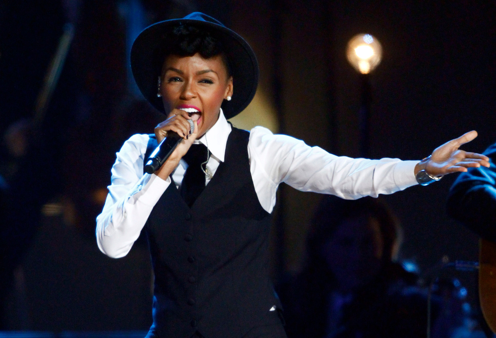 Description of . Janelle Monae performs at the Grammy Nominations Concert Live! at Bridgestone Arena on Wednesday, Dec. 5, 2012, in Nashville, Tenn. (Photo by Wade Payne/Invision/AP)