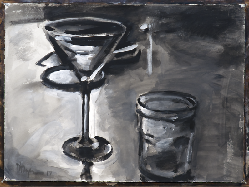 Ron Crouch - Untitled (still life) (version 1); acrylic on paper, 22 x 30 in, 2017