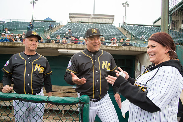 05/03/19 Wesley Bunnell | Staff The New Britain Bees home opener vs the Somerset Patriots on Friday night at New Britain Stadium. Mayor Erin Stewart stops to speak with coach Chuck Stewart, L, and Manager Mauro Gozzo.