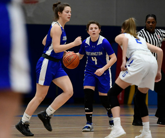 3/5/2020 Mike Orazzi | Staff Southington's Livvy Pizzitola (4) during the Class LL Second Round of the CIAC 2020 State Girls Basketball Tournament at Glastonbury High School on Thursday night.