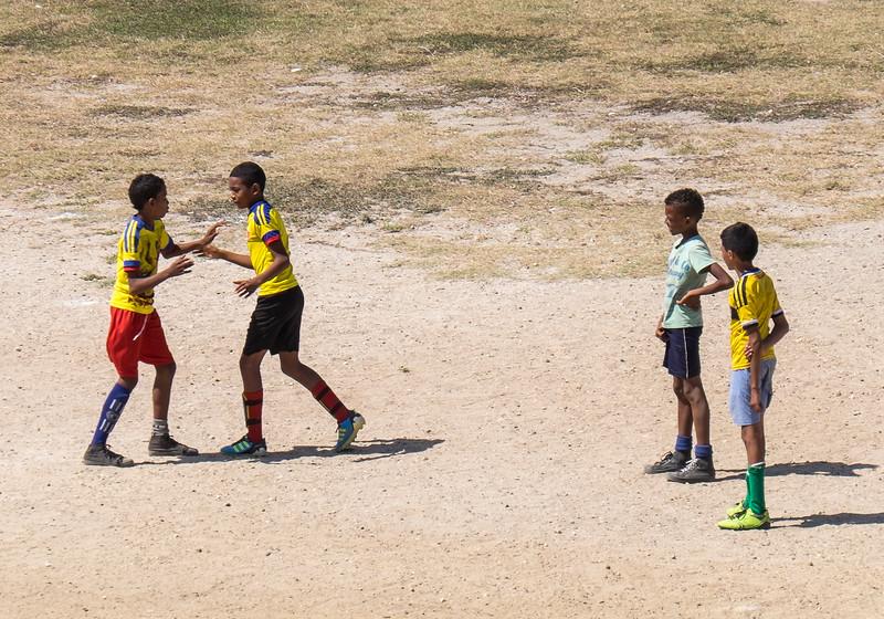 Cartagena Columbia Boys Playing Soccer