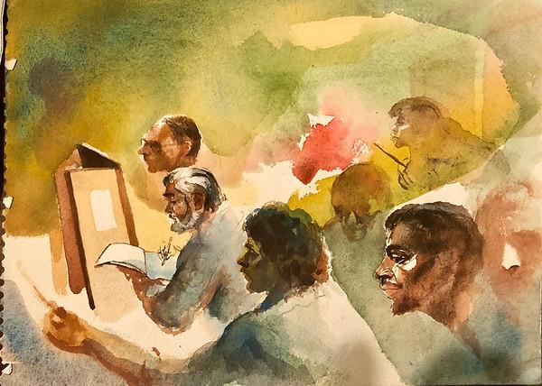 Sketch class while teaching at High School of Art an Design