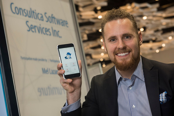 DAVID LIPNOWSKI / WINNIPEG FREE PRESS  Chief brand officer for Consultica (a local company) Luc Bohunicky, shows off a new app for the Paramedic Association of Manitoba during Centrallia at RBC Convention Centre Thursday May 25, 2016.
