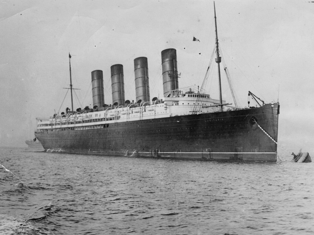 . circa 1910:  British liner the \'Lusitania\', which was sunk off Kinsale on the Irish coast by a German U-boat in 1915.  (Photo by Hulton Archive/Getty Images)