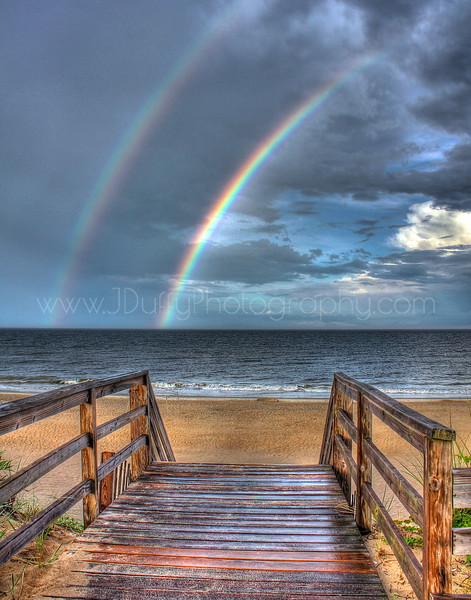 Double Rainbow <br /> <br /> Another HDR favorite of mine! This was taken after a large thunderstorm rolled through the Outer Banks in 2012. I saw the rainblow from our beach house rental and grabbed my camera to see what the view would be from the beach...I wasn't disappointed! What an incredible site to see and even luckier to have captured it on film!<br /> <br /> This is another print which looks incredible with a metallic finish to it.