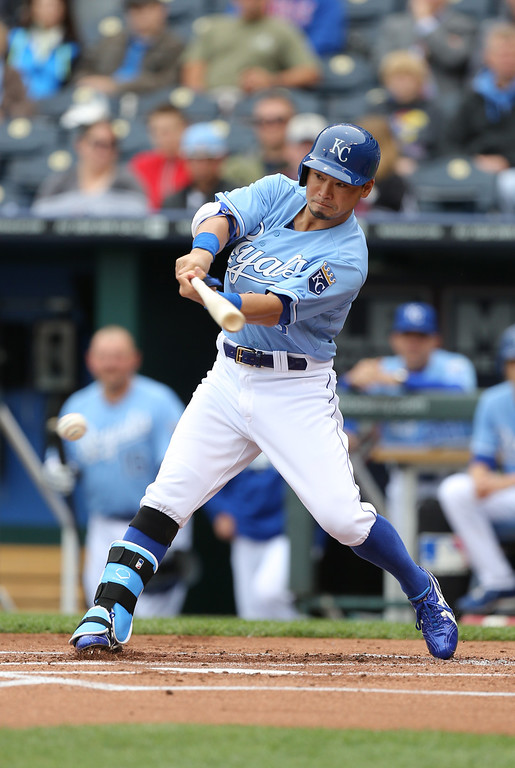 . KANSAS CITY, MO - MAY 14:  Norichika Aoki #23 of the Kansas City Royals bats against the Colorado Rockies in the first inning at Kauffman Stadium on May 14, 2014 in Kansas City, Missouri. (Photo by Ed Zurga/Getty Images)