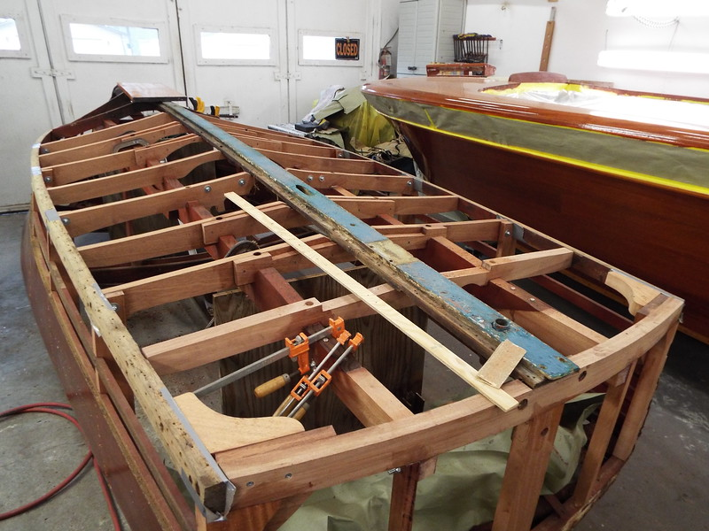 Rear starboard view of the new bottom and side frames installed.