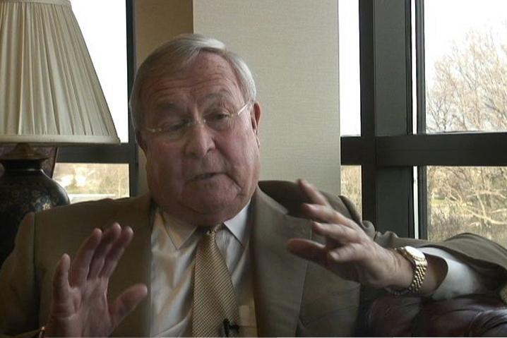 . Oakland County Executive L. Brooks Patterson discusses his April Fools Day message. The Oakland Press/DOUG BAUMAN