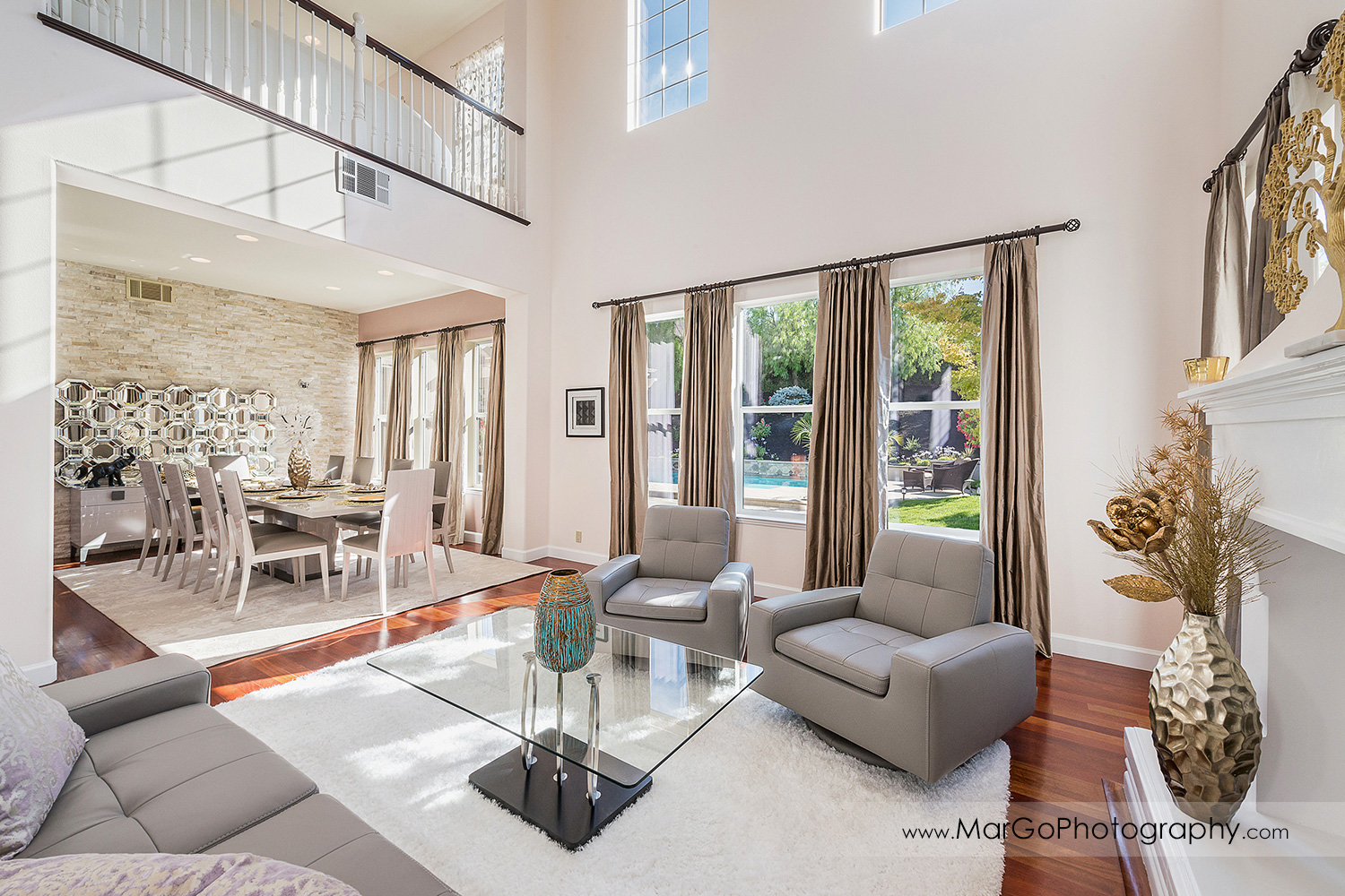 wide view of living room in San Ramon house - real estate photography