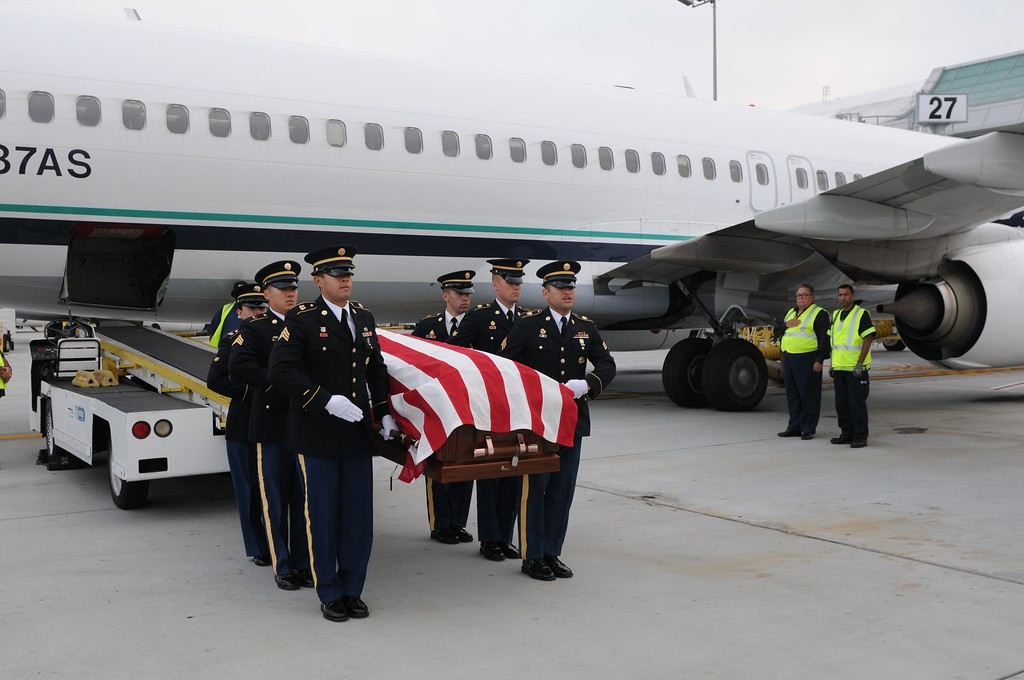 . The remains of Sgt. 1st Class Joseph Steinberg, a member of Battery C, 15th Field Artillery Battalion, 2nd Infantry Division, arrived at the San Jose Mineta Airport on July 30, 2013. Steinberg was a Prisoner of War during the Korean War, where he passed away in 1951. His remains were returned to the U.S. Government by the Republic of Korea and identified through modern DNA technology. Steinberg\'s family will finally be able to put him to rest alongside his three brothers, all of them WWII veterans, at the Golden Gate National Cemetery in San Bruno, Calif. His funeral took place on Aug. 1, 2013. (Courtesy Spc. Charles So, Public Affairs Specialist, 63d Regional Support Command, U.S. Army Reserve)