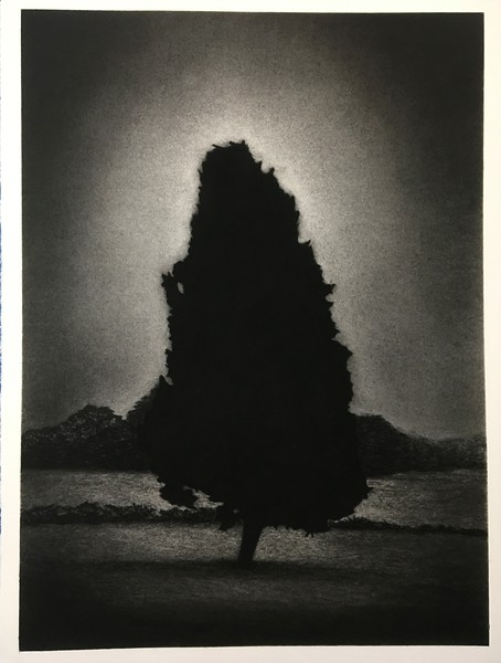 Nightfall, charcoal on paper $2,500 Framed