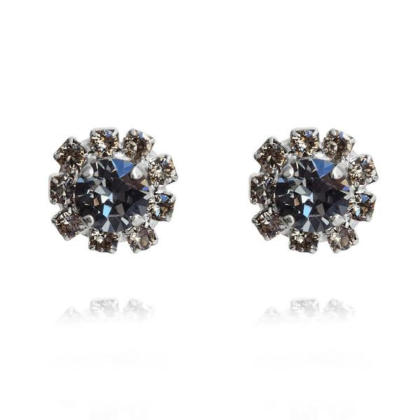 Aello Stud Earrings / Black Diamond / Rhodium