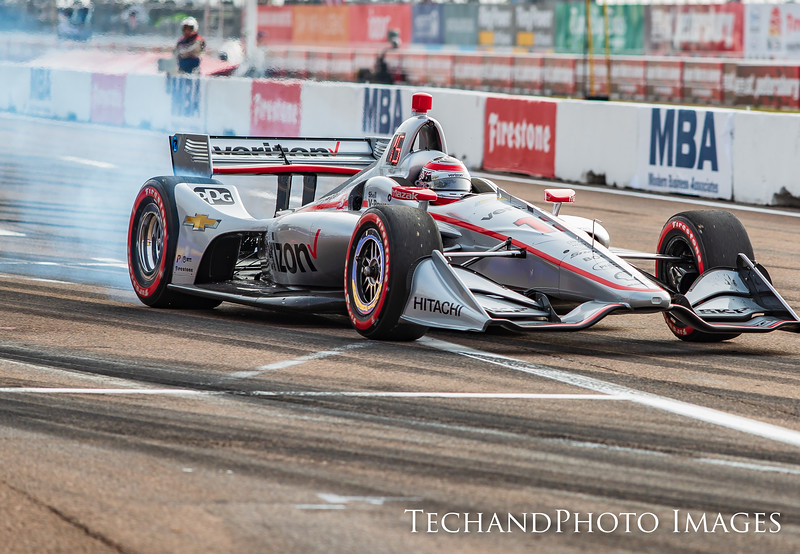 Will Power smoking the tires as he leaves the pits at The Firestone Grand Prix of St Petersburg held on Sunday  March 10th