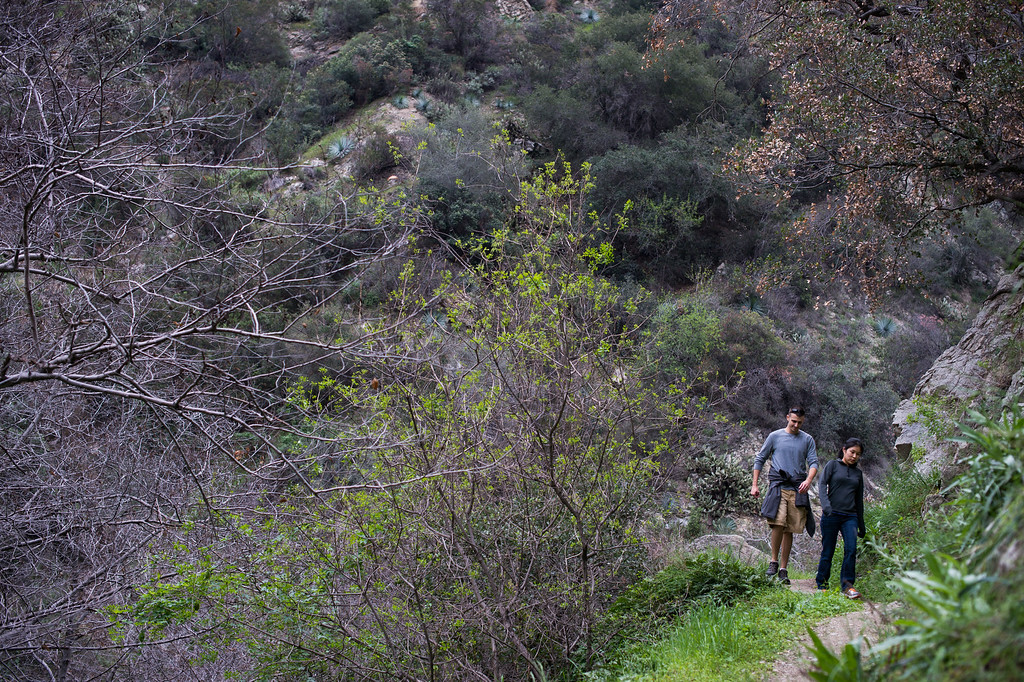 . People head towards Fish Canyon Falls in Angeles National Forest on Friday, February 27, 2015. Duarte received a $25,000 grant from Los Angeles County to rehabilitate the trail. (Photo by Sarah Reingewirtz/Pasadena Star-News)