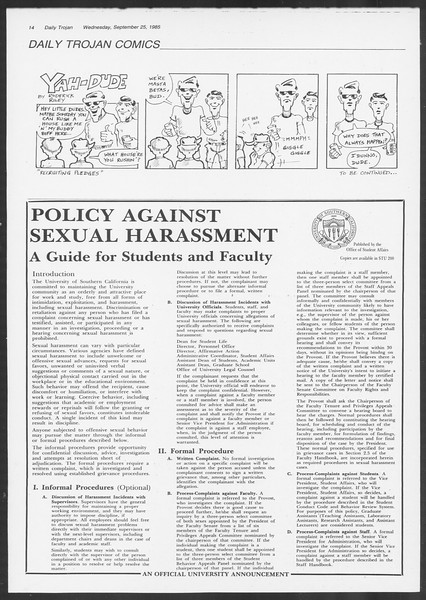 Daily Trojan, Vol. 100, No. 17, September 25, 1985