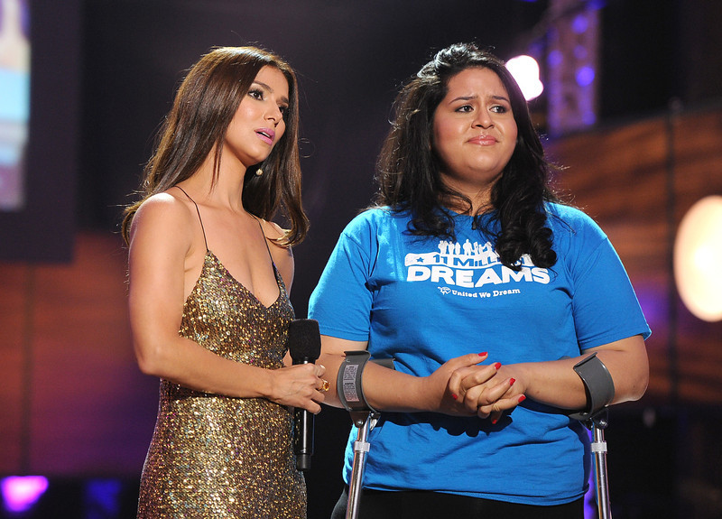 . Actress Roselyn Sanchez and Lorella Praeli of United We Dream speak onstage at the DoSomething.org and VH1\'s 2013 Do Something Awards at Avalon on July 31, 2013 in Hollywood, California.  (Photo by Kevin Winter/Getty Images)