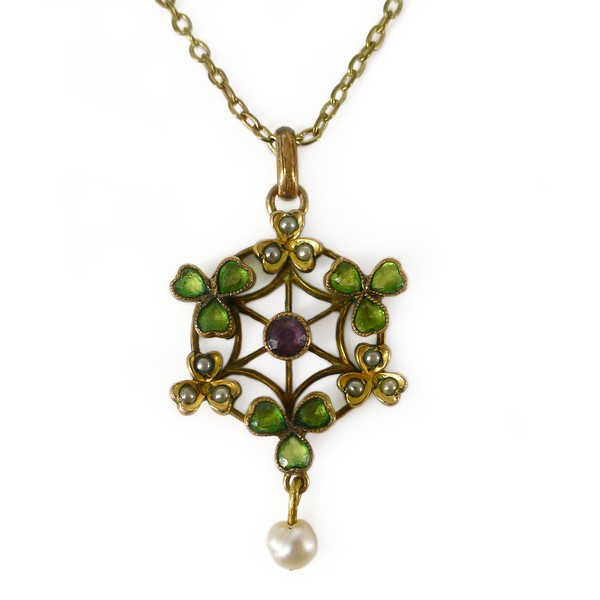 Antique Edwardian Suffragette Clover Glass Rolled Gold Pearl Pendant