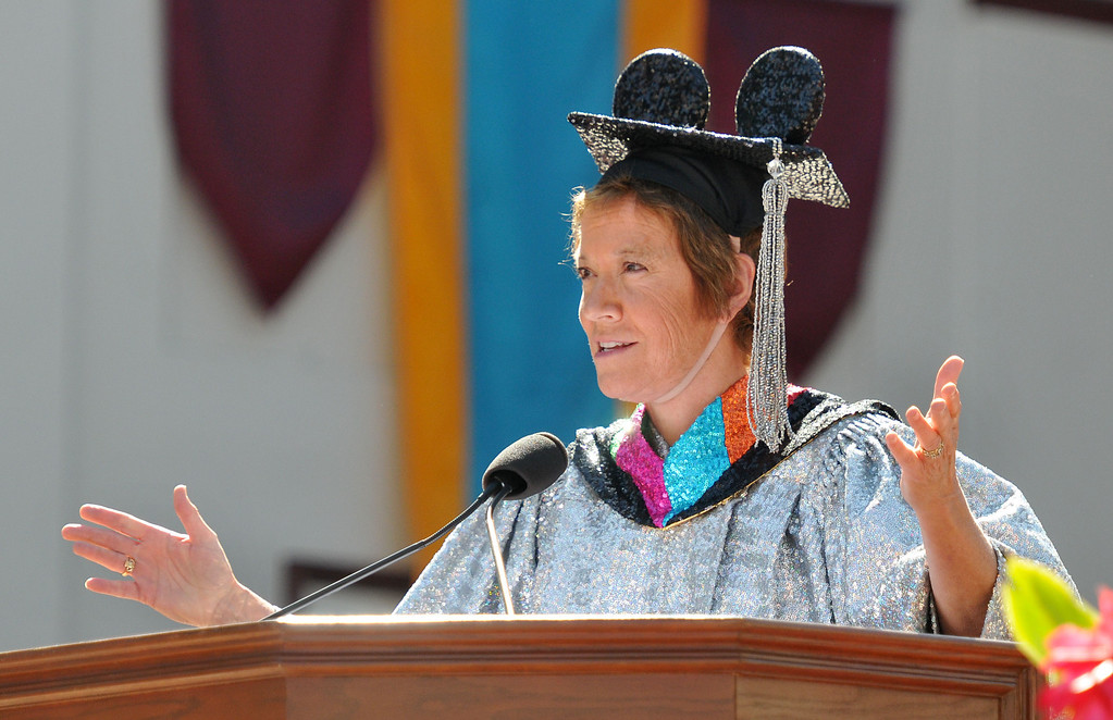 """. (John Valenzuela/Staff Photographer) University of Redlands alumni, Marilyn Magness Carroll, class of 1975, delivered the Commencement speech, \"""" If You Can Dream It, You can Do It\"""" during the 104th College of Arts & Sciences Commencement for the University of Redlands, Saturday, April 20, 2013."""