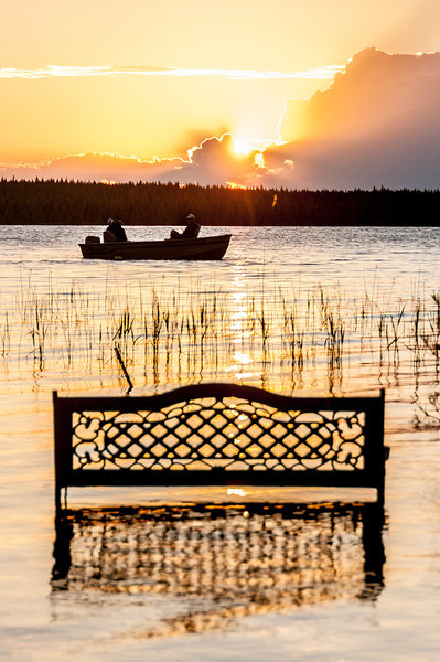 Canoe on lake during sunset at Voyageurs National Park