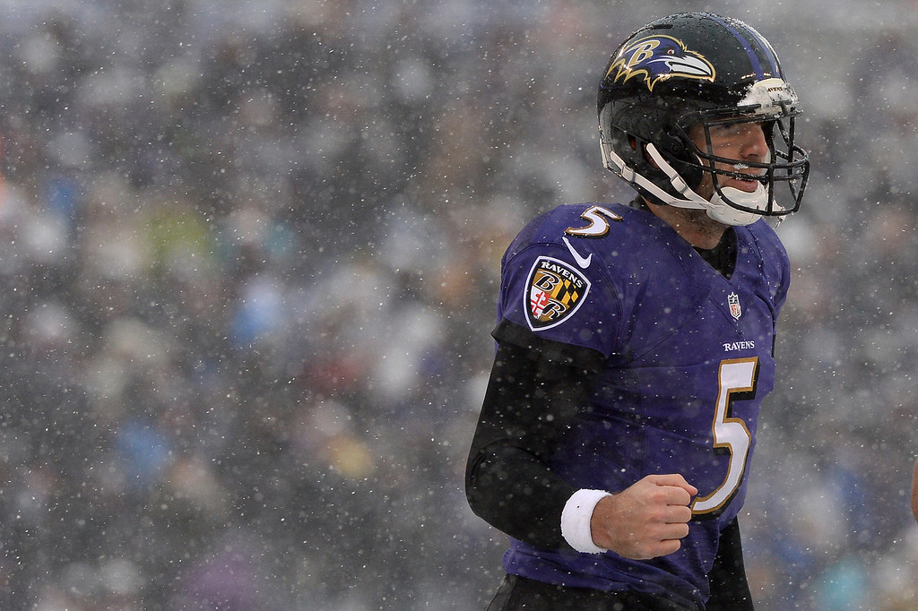 . Quarterback Joe Flacco #5 of the Baltimore Ravens celebrates after throwing a touchdown against the Minnesota Vikings in the first quarter at M&T Bank Stadium on December 8, 2013 in Baltimore, Maryland. (Photo by Patrick Smith/Getty Images)