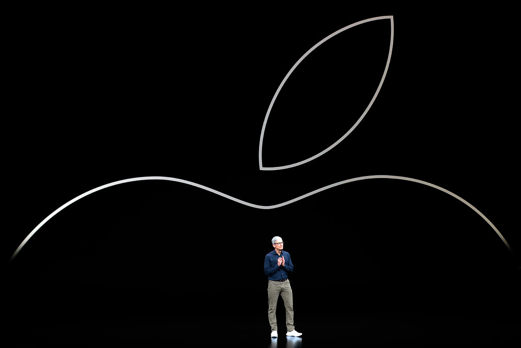 . Apple CEO Tim Cook discusses the new Apple iPhones and other products at the Steve Jobs Theater during an event to announce new products Wednesday, Sept. 12, 2018, in Cupertino, Calif. (AP Photo/Marcio Jose Sanchez)