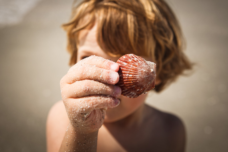 A young boy holding a shell.
